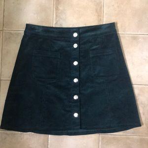 H&M green corduroy skirt